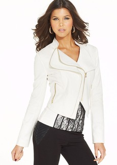 XOXO Faux-Leather Exposed Zipper Jacket