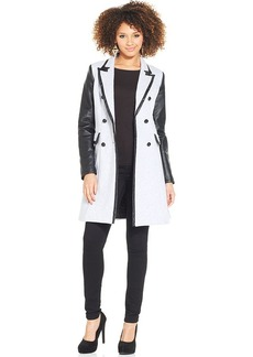 XOXO Juniors' Faux-Leather-Panel Terry Trench Coat