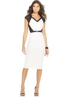 XOXO Faux-Leather-Trim Sheath Dress