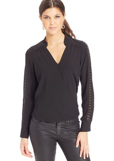 XOXO Faux-Leather-Trim Surplice Top