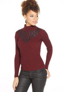 XOXO Faux-Leather-Trim Turtleneck Top