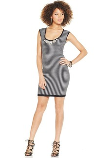 XOXO Juniors' Houndstooth-Print Bodycon Sweater Dress