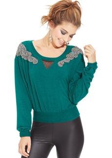 XOXO Juniors' Beaded-Applique Sweatshirt