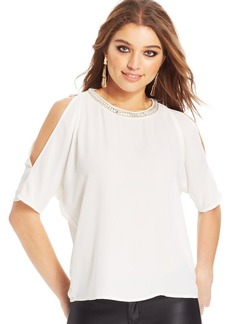 XOXO Juniors' Beaded Cutout Top