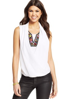 XOXO Juniors' Beaded Draped Top