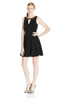 XOXO Juniors Beaded Keyhole Open Back Swing Fit and Flare Dress