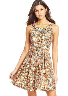 XOXO Juniors' Beaded Pleated Dress