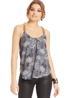 XOXO Juniors' Beaded Snakeskin-Print Top
