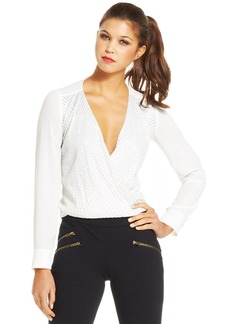 XOXO Juniors' Beaded Surplice Top