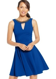 Xoxo Juniors' Beaded V-Back Fit-and-Flare Dress