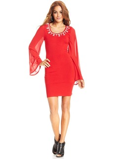 XOXO Juniors' Bell-Sleeve Bodycon Dress