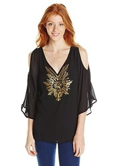 XOXO Juniors Cold Shoulder Top with Beading