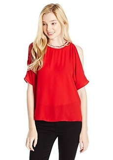 XOXO Juniors Cold Shoulder Top with Embellished Neck