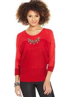 XOXO Juniors' Colorblock Jeweled Sweater