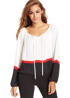 XOXO Juniors' Colorblock Peasant Top