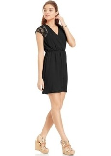 Xoxo Juniors' Crochet-Back Faux-Wrap Dress