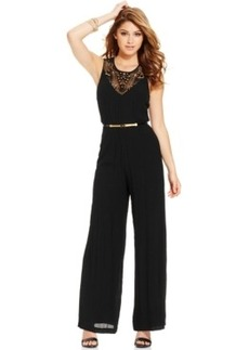 Xoxo Juniors' Crochet-Inset Jumpsuit
