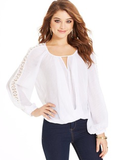 XOXO Juniors' Crochet-Trim Blouson Top