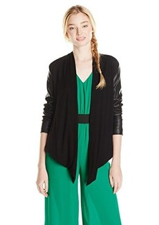 XOXO Juniors Draped Front Leather with Knit Jacket