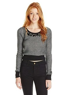 XOXO Juniors Embellished Neck Cropped Pullover Sweater
