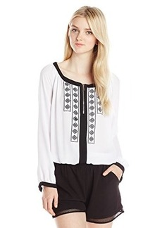 XOXO Junior's Embroidered Contrast Stitch Front Peasant Top