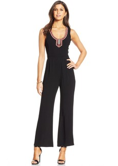 XOXO Juniors' Embroidered-Trim Jumpsuit