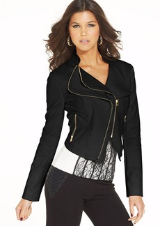 XOXO Juniors' Faux-Leather Exposed Zipper Jacket