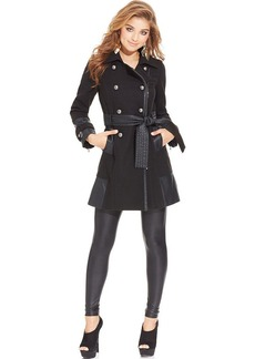 XOXO Juniors' Faux-Leather-Panel Coat