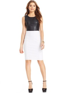 XOXO Juniors' Faux-Leather-Panel Sheath Dress