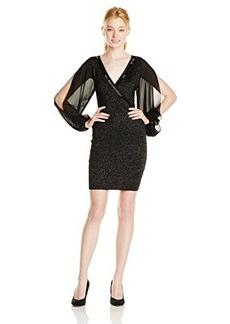 XOXO Juniors Faux-Wrap Beaded Dress