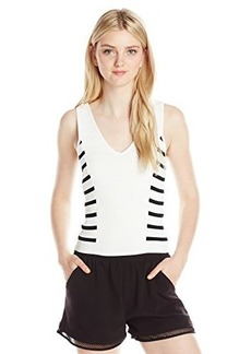 XOXO Junior's Fitted V-Neck Crop Top with Stripe Side Panels