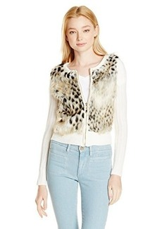 XOXO Juniors Fur Front Zip Sweater Leopard