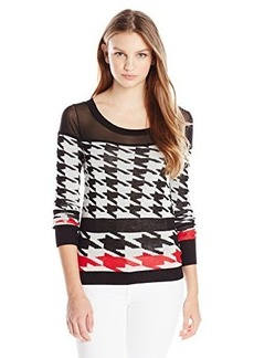 XOXO Juniors Houndstooth Printed Pullover Sweater