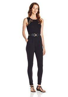 XOXO Juniors Lace and Leather Jumpsuit with Belt