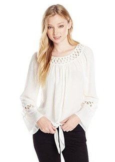 XOXO Juniors Lattice Neck Peasant Top