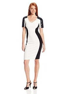 XOXO Juniors Pleather Sleeve Ponte Sheath Dress