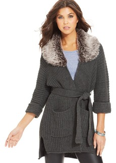 XOXO Juniors' Ribbed Faux-Fur-Collar Cardigan
