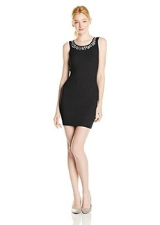 XOXO Juniors Ribbed Sheath Dress with Embellished Neckline