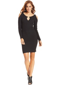 XOXO Juniors' Ribbed Shoulder-Cutout Dress