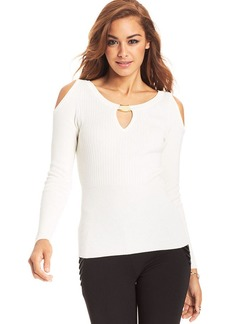 XOXO Juniors' Ribbed Shoulder-Cutout Top