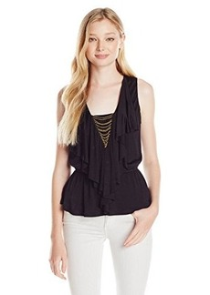XOXO Juniors Ruffle Front with Chain Trim Top