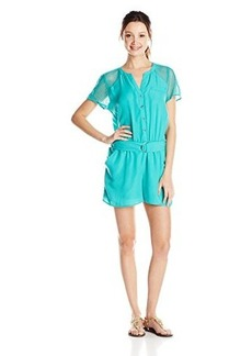 XOXO Junior's Short Sleeve Mesh Insert Romper