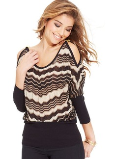 XOXO Juniors' Shoulder-Cutout Chevron Top