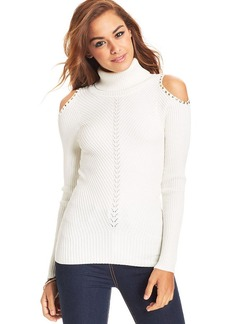 XOXO Juniors' Shoulder-Cutout Turtleneck Top