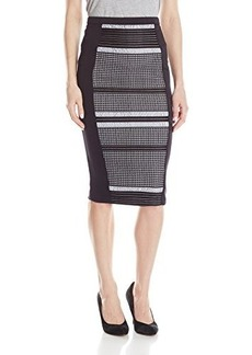 XOXO Junior's Side Panel Pencil Skirt with Lace Bonding