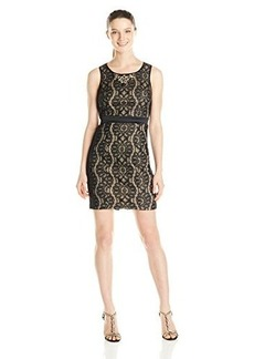 XOXO Juniors Sleeveless Bonded Lace Dress with Contrast Waistband