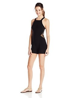 XOXO Junior's Sleeveless Mesh Detail Open Back Romper