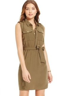 Xoxo Juniors' Sleeveless Military Shirtdress