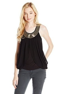 XOXO Juniors Sleeveless Top with Front Neck Trim