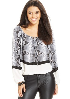 XOXO Juniors' Snakeskin-Print Peasant Top